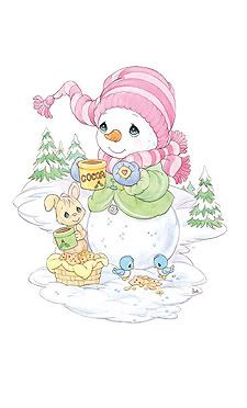 Precious Moments Quotes, Precious Moments Coloring Pages, Precious Moments Figurines, Animals For Kids, Cute Animals, Cute Snowman, Snowmen, Crochet Humor, Christmas Drawing