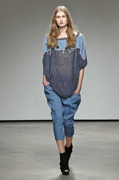Atsuro Tayama S/S '13 | inspiration for distressed denim layer on knit or another shirt