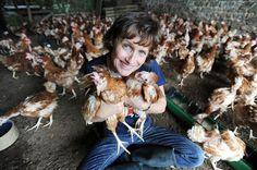 Jane Howorth of the British Hen Welfare Trust on her farm in Devon