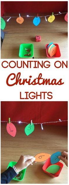Christmas Lights Counting On Activity - DIY Counting Activity This Christmas counting on activity is so fun for Pre-K and Kindergarten kids to work on number identification, number order, and counting skills! Preschool Lessons, Kindergarten Activities, Preschool Learning, Counting Activities Eyfs, Learning Activities, Noel Christmas, Christmas Lights, Christmas Activities For Kids, Kindergarten Christmas Crafts