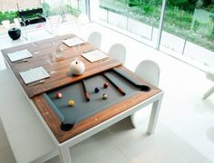 FUSION TABLES: a dining table and pool table all in one. Remove the multi-piece dining top to unveil a beautiful pool table with a contemporary sleek design offering nice wooden and lacquered finishings. Pool Table Dining Table, Pool Table Room, Play Table, Diy Pool Table, Outdoor Pool Table, White Pool Table, Full Size Pool Table, Patio, Outdoor Dining
