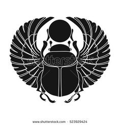 Scarab icon in black style isolated on white background. Egyptian Beetle, Egyptian Scarab, Egyptian Symbols, Egyptian Art, Mayan Symbols, Viking Symbols, Viking Runes, Ancient Symbols, Scarab Tattoo