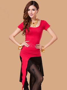 Séduisant costume de danse orientale en soie rouge bicolore asymétrique - Milanoo.com