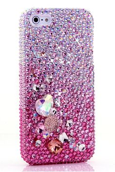 Nice Cute Awesome Cool iPhone 5 5s 5c case AB Faded to Pink with 3D Stones Design Vintage Crystals Bling Glitter