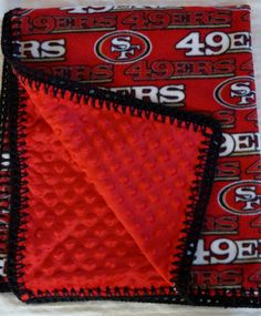 NFL San Francisco Football Fleece Minky 30 x 36 Blanket with Personalizing option available Niners Girl, Sf Niners, Forty Niners, Nfl 49ers, 49ers Fans, Best Football Team, Football Season, Nfl San Francisco, Sport Craft