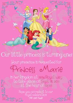65de5b08855c Disney Princess Birthday Invitation Disney Princess Invitations