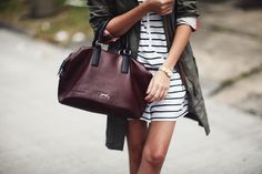 stripes and green parka Green Parka, Army Green, Rebecca Minkoff, Camo, Style Me, Asia, Stripes, Military, Street Style