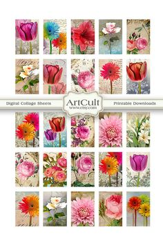 CHARMING GARDEN  1x15 inch Digital Collage Sheet by ArtCult, $4.60