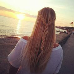Simple and beautiful. Two Dutch lace braids into a three strand braid by ffashionails. source