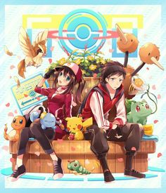 ♥ Girl... Boy... Female Protagonist... Male Protagonist... Charmander... Pikachu... Pokémon... Pokémon GO!... Blue Eyes... Smile... Anime ♥