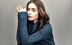 Lily Collins, portrait, blue sweater, American actress, To the Bone