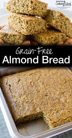 Nutty and moist, this healthy grain-free almond bread can be served like a side of cornbread. It's Paleo, gluten-free, and GAPS Diet friendly! Healthy Muffin Recipes, Healthy Muffins, Gluten Free Recipes, Paleo Recipes, Low Carb Recipes, Advocare Recipes, Healthy Snacks, Healthy Eating, Almond Bread