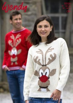 Christmas sweater knitting patterns for adults: rudolph sweater in Endy Mode DK on LoveKnitting Jumper Knitting Pattern, Jumper Patterns, Knitting Patterns Free, Knit Patterns, Free Knitting, Xmas Jumpers, Knitted Christmas Jumpers, Christmas Sweaters, Stocking Stitch Knitting