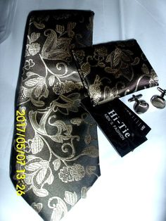 "Men Neck Ties ""KAILONG"" 100% Silk Handmade FLORAL METALLIC SILVER ON BLACK  #HITIE #Tie"