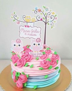 Buho torta Bolo Laura, Owl Themed Parties, Cake Lettering, Creative Cake Decorating, Cake Banner, Baby Girl Cakes, Paper Cake, Buttercream Flowers, Disney Cakes