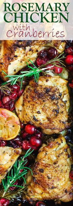 Garlic Rosemary Chicken with Cranberries | The Mediterranean Dish. All the comfort in this easy one-pan rosemary chicken. The chicken pieces are rubbed in lots of garlic and fresh rosemary, then marinated in citrus and olive oil along with onions and celery. And the cranberry topping takes it to another level! Step-by-step tutorial on http://TheMediterraneanDish.com Frugal holiday dinner!