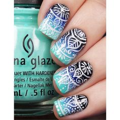 Nail art d'été d'inspiration indienne Nail Art by Nails Ink ❤ liked on Polyvore featuring beauty products, nail care, nail treatments and nails