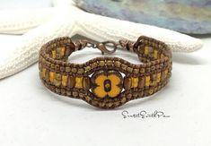 BEADED LEATHER CUFF Bracelet Chic Leather Bracelet Leather