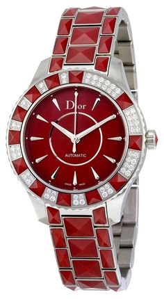 Christian Dior Christal Red Dial Stainless Steel with Sapphire Inserts Ladies Watch CD144514M001 >>> Check out this great watch.