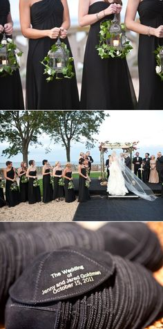 Gothic-chic theme from NY, cute idea to have bridesmaid's carrying lanterns for an evening wedding.❤❤❤black