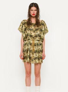 Lara Silk Tunic in Olive Print by Vita Gottlieb / Clothing / Tops | Young British Designers