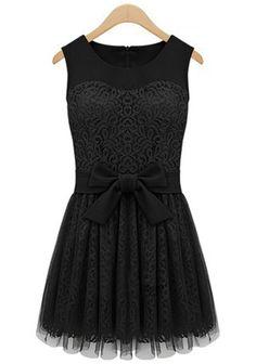 Black Plain Sleeveless Wrap Lace Mini Dress