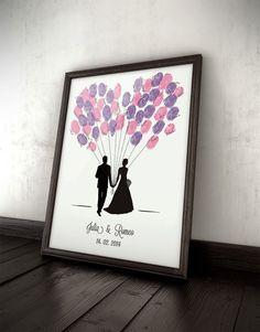 Gästebuch Ballons, Hochzeit, Fingerprints, Wedding