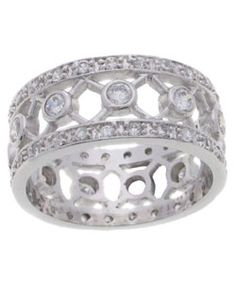 Tressa Sterling Silver CZ Wide Band Ring