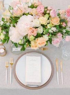 A Romantic Wedding in the South of France that Didn't End Until A Romantic, Summer Wedding table and plate settings Round Wedding Tables, Wedding Table Settings, Wedding Reception Decorations, Reception Ideas, Place Settings, Table Decorations, Pink Wedding Centerpieces, Wedding Vases, Wedding Menu