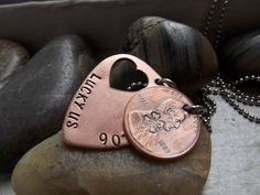 Lucky Us Copper PICK Necklace with 1 Penny by patsdesign on Etsy