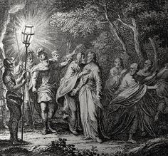 Christ's earthly ministry in the Phillip Medhurst Bible 328 of 550 The arrest of Jesus in Gethsemane Matthew 2647-50 Schellenberg on Flickr. A print from the Phillip Medhurst Collection at St. George's Court, Kidderminster.
