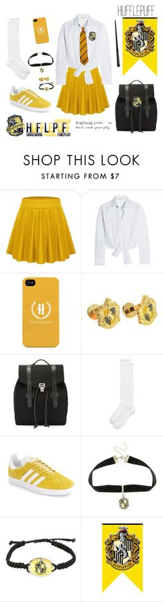 """""""Hogwarts uniform 2017- Hufflepuff ( usual day) for girls"""" by maddigrace-ccc ❤ liked on Polyvore featuring Maje, Cufflinks, Inc., Proenza Schouler, Kate Spade, adidas and Warner Bros."""