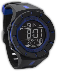 A True Hero Wear Exclusive, the Rider by Rockwell Coliseum Watch - Law Enforcement Edition. This is a high quality digital watch featuring a hi-vis LCD display