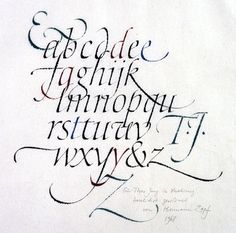 Italic minuscules with flourishes. Ink and watercolour on Japanese paper 1968. Calligraphy by Hermann Zapf