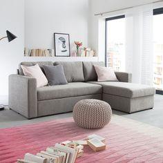 Canapé d'angle Forrest - Tissu gris clair - Avec méridienne à monter à gauche ou à droite