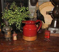 Primitive Antique Vtg Style Red Glazed Stoneware Jug Pitcher Jar Crock #NaivePrimitive