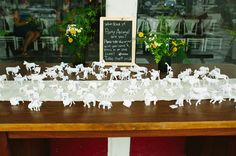 Party Animals!   I like as placecards - see metallic ones from Your Modern Couple  Virginia Handmade Wedding: Misato + Chris
