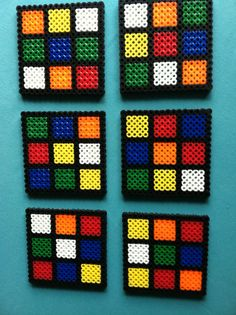 Rubix Cube Perler Bead Coasters Set of SIX by PorcupineSpines