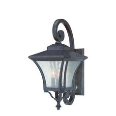 Tuscan Black Coral Three-Light Outdoor Wall Mount with Clear Seeded Glass