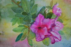 Pink Azaleas original floral art watercolor by TerriRobertsonArt