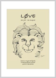 Kort med stjernetegnet løven fra Ping Pong Posters – køb her!