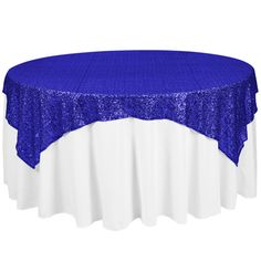 OLSQx72RY 72 x 72 Royal Blue Sequin Table Topper Overlay $29.99