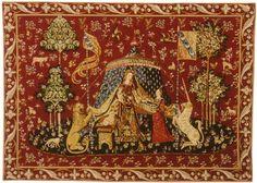 Dollhouse Carpet, Medieval Carpet, Lady and Unicorn Carpet, Mini carpet  , twelfth scale dollhouse miniature