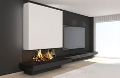 Decorate the home with modern fireplaces Living Room Decor Fireplace, Fireplace Seating, Home Fireplace, Fireplace Remodel, Living Room Tv, Living Room Interior, Contemporary Fireplace Designs, Contemporary Home Decor, Classic Fireplace
