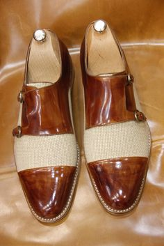 Handmade Brown Linen Monkstrap Men Shoes