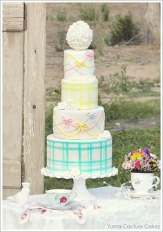 Gingham & Bows Wedding Cake- Love the aqua and yellow gingham tiers!