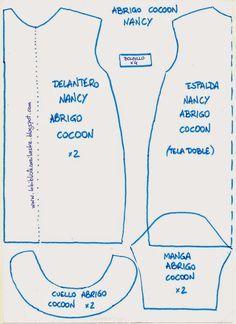 La biblioteca silvestre: Abrigo Cocoon para nancy (patrón) Doll Dress Patterns, Barbie Clothes Patterns, Sewing Clothes, Clothing Patterns, Sewing Patterns, Diy Clothes, Vestidos Nancy, Monogram Online, Nancy Doll