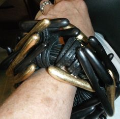 monies massive rare  ebony wood gold foil leather bangle bracelet rods  #gerdalynggaardpourmonies #runway