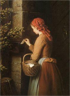 """""""The Letter"""" by Johann Georg Meyer von Bremen (German, 1813-1886)"""