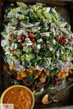 Autumn Cobb Salad With Pumpkin Dressing